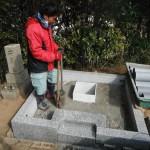 高取町で墓石の基礎工事をいたしました。