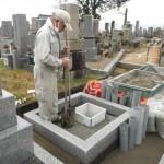 天理市内で新規墓石工事に着手しました。