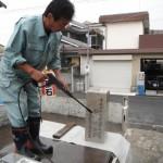 石碑と霊標の汚れ除去(追加彫刻の際に)橿原市の工場にて
