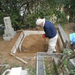 高市郡でお墓墓石工事(巻石)に着手しました。