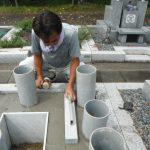 秋空の晴天の中、橿原市営香久山墓園にてお墓工事完成しました。